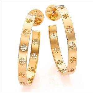 NWT Tory Burch Gold Pierced T Hoop Earrings